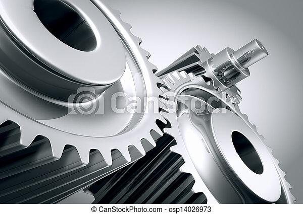 機械, 終わり, gears., の上 - csp14026973