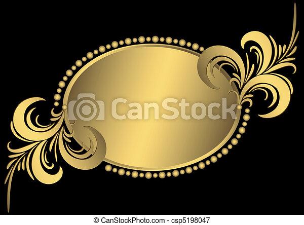 橢圓形, 黃金, 框架, 葡萄酒 - csp5198047