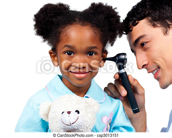 檢查, 他的, 病人, 醫生, 年輕, 針對, 充滿信心, 背景, 白色 - csp3013151