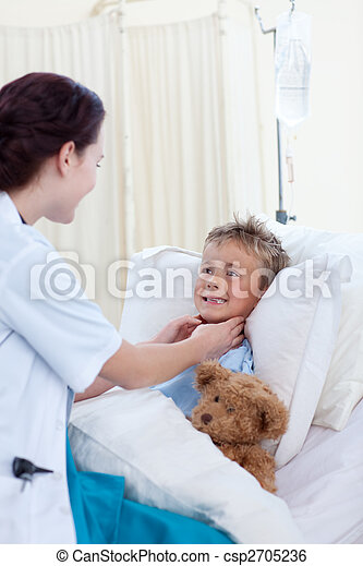 檢查, 咽喉, 醫生, 女孩子 - csp2705236