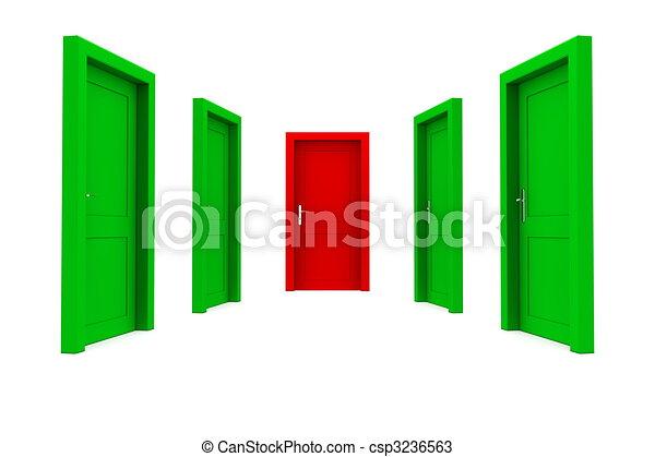 權利, 門, -, 綠色, 選擇, 紅色 - csp3236563
