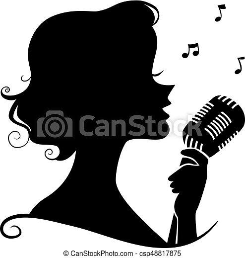 歌手 シルエット ジャズ イラスト レトロ 女の子 マイクロフォン