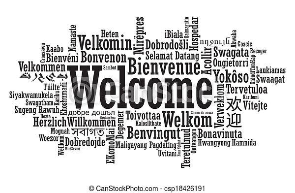 歓迎, 単語, 雲, イラスト - csp18426191