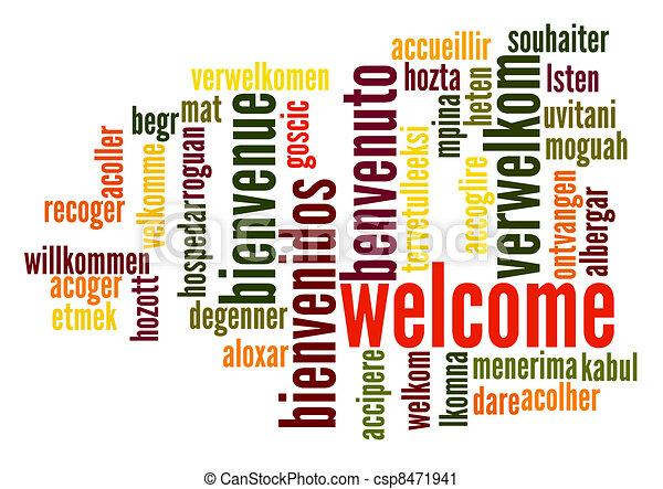 歓迎, 単語, 雲 - csp8471941