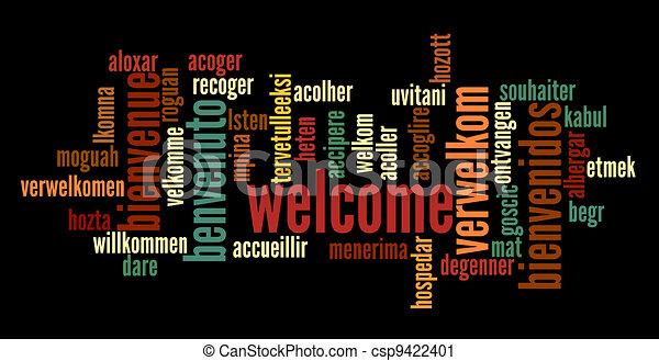 歓迎, 単語, 雲 - csp9422401