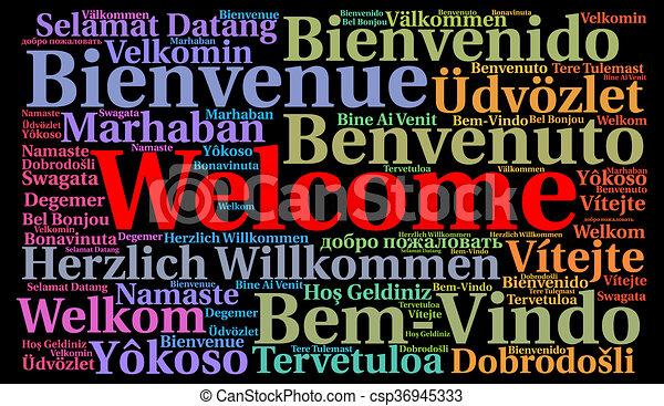 歓迎, 単語, 雲 - csp36945333