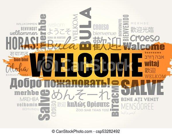 歓迎, 単語, 雲 - csp53282492