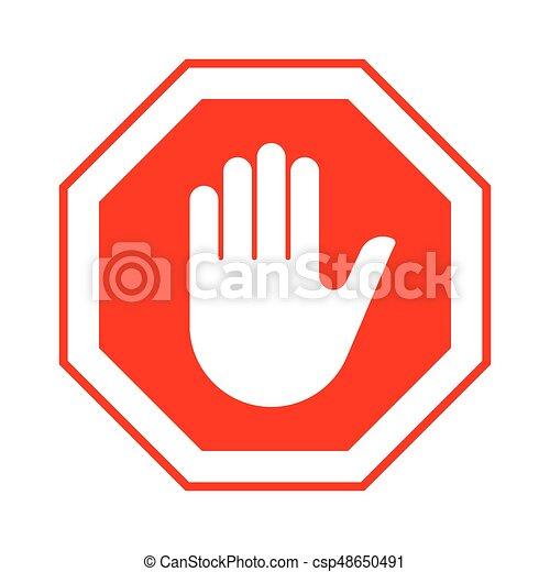 止まれ, 手, 入りなさい, ない, 印, 赤 - csp48650491