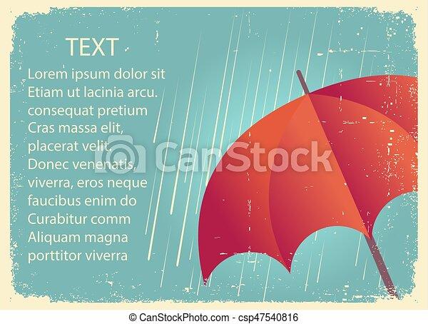 正文, 紙, umbrella., 雨, 老, 紅色, 海報, 葡萄酒 - csp47540816