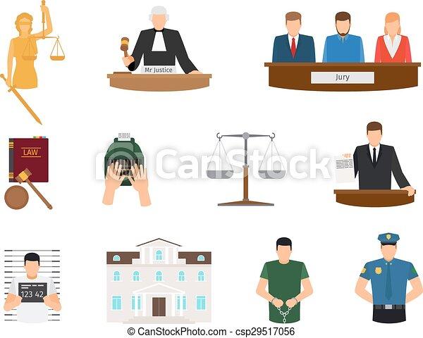 正義, 平ら, 法律, アイコン - csp29517056