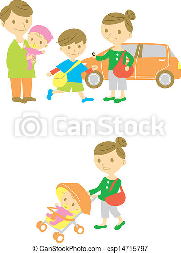 步行, 嬰孩, 驅動, 家庭, 拿 - csp14715797