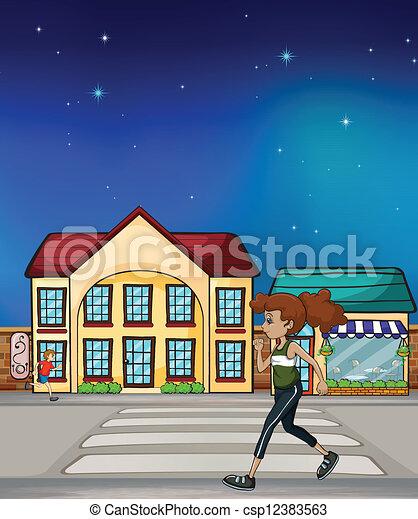 歩くこと, 女, hurriedly - csp12383563