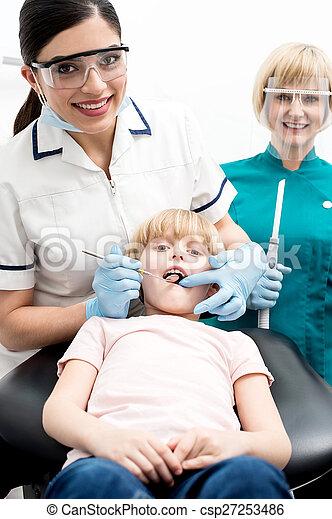 。, 歯医者の, 点検, 彼女, 子供 - csp27253486