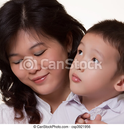 母, アジア人, 息子 - csp3921956