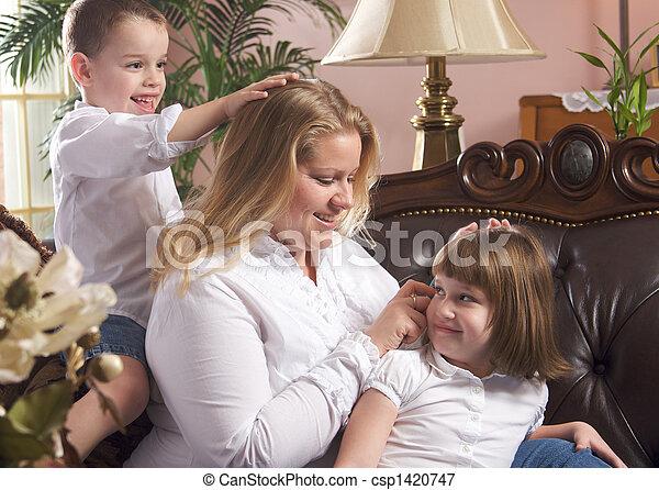 母, 子供, ブラシ, & - csp1420747