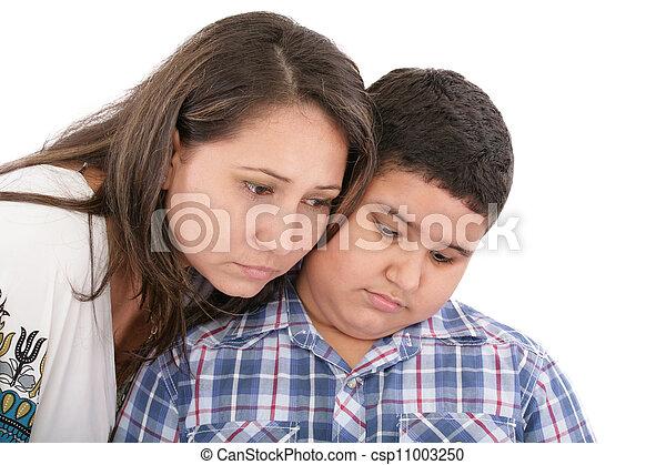 母, 彼女, 息子, 慰めとなる - csp11003250