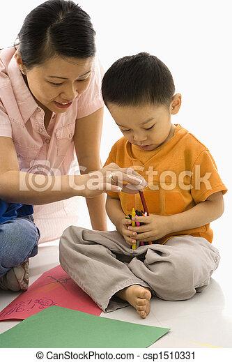 母, coloring., 息子 - csp1510331