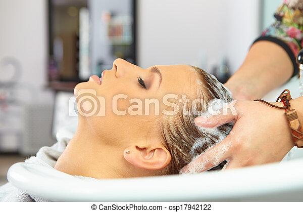 毛の洗浄, salon., shampoo. - csp17942122