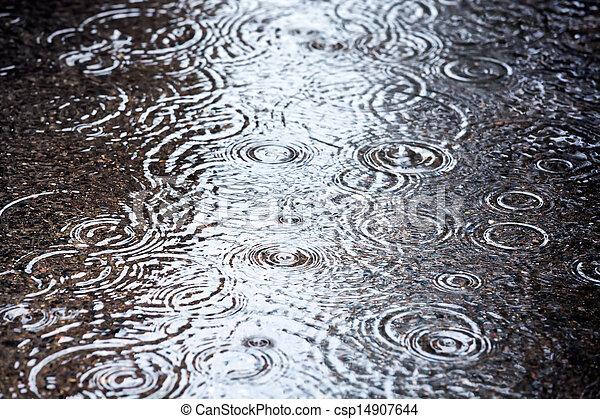 水たまり, 雨 - csp14907644
