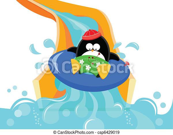 水スライド, ペンギン - csp6429019