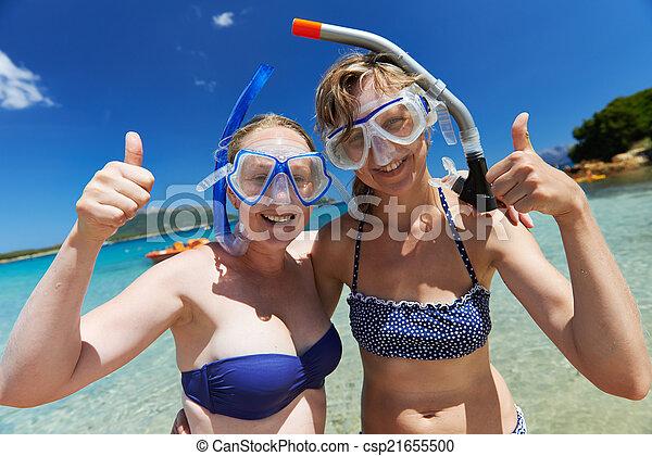 水下通气管, 女孩, 假期, 面罩, 愉快 - csp21655500