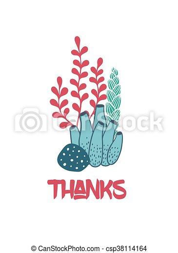 水中, ありがとう, 海草, カード, 挨拶 - csp38114164