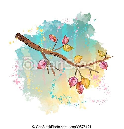 水彩画, 秋, 木の枝 - csp30576171