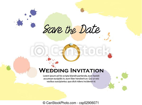 水彩画, 結婚式の招待 - csp52906071