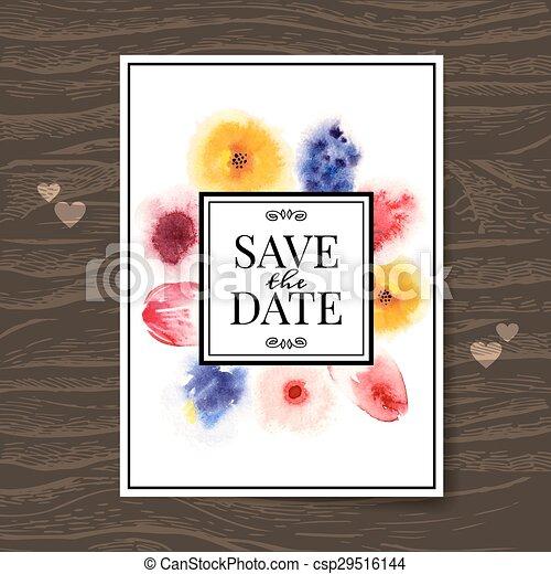 水彩画, 花, 招待, カード, 結婚式 - csp29516144