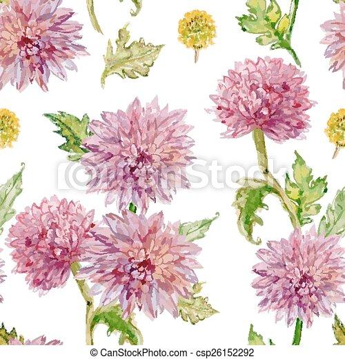 水彩画, flowers., seamless, golden-daisy, texture. - csp26152292