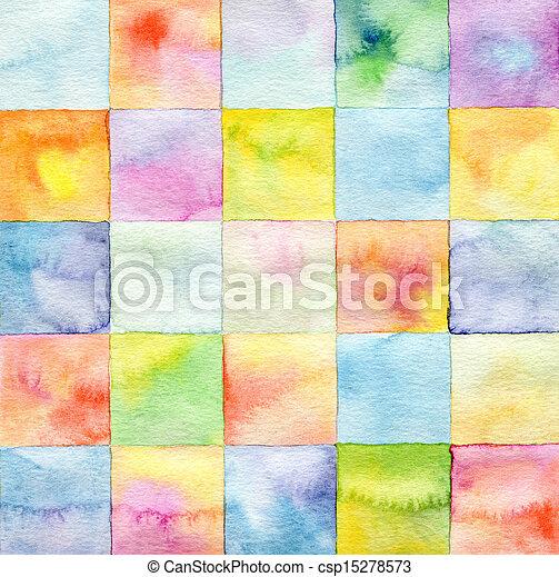 水彩, 繪, 摘要, 廣場, 背景 - csp15278573