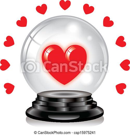 水晶球, 愛 - csp15975241