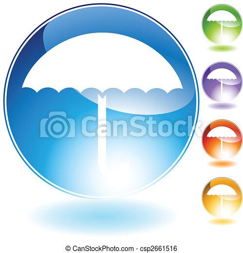 水晶, 傘, アイコン - csp2661516