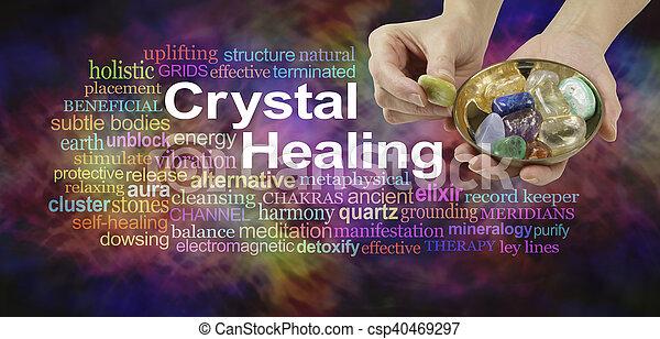 水晶, 単語, 治癒, 雲 - csp40469297