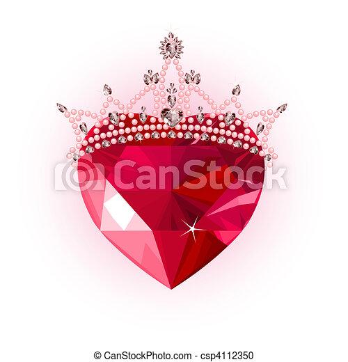 水晶, 王冠, 心 - csp4112350