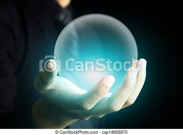 水晶, 發光, 球, 藏品 手 - csp14956970