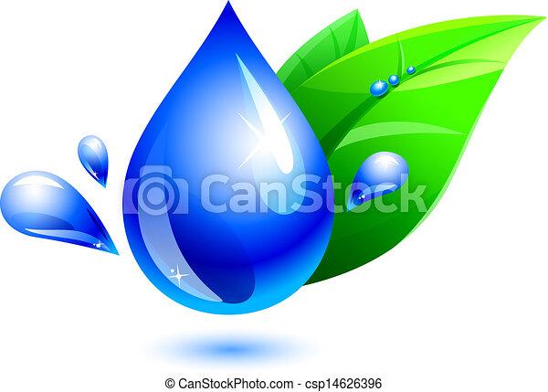 水滴, 葉 - csp14626396