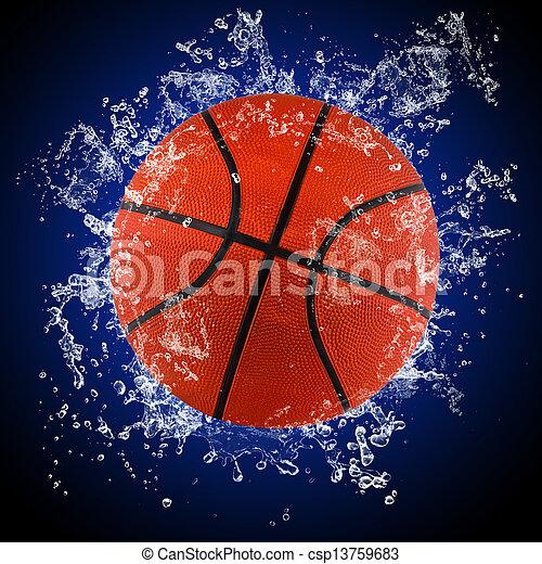 水, はねかけること, バスケットボールボール - csp13759683
