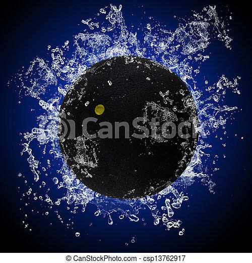 水, はねかけること, ボール, スカッシュ - csp13762917