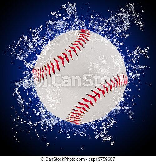 水, はねかけること, ボール, 野球 - csp13759607