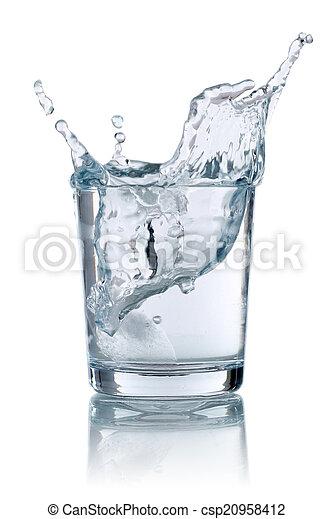 水 ガラス, はねかけること, 立方体, 氷 - csp20958412