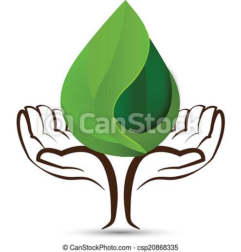 水, ロゴ, 低下, 葉, 手 - csp20868335