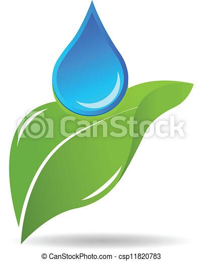 水, ロゴ, 低下, 葉 - csp11820783