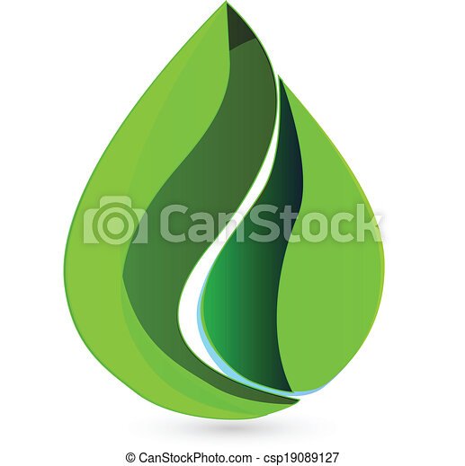 水, ロゴ, 低下, leafs - csp19089127