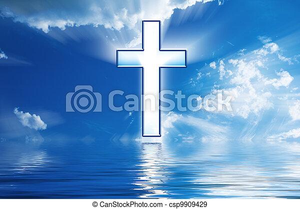 水, 上に, 空, 交差点, 掛かる - csp9909429