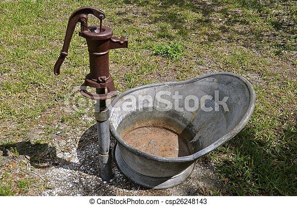 水, 古い, 椅子, ポンプ, 浴室, 手 - csp26248143