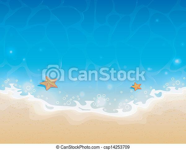 水, 夏, 砂, 背景 - csp14253709