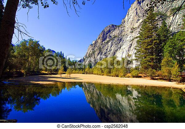 水, 山, 屋外, 風景, 自然 - csp2562048