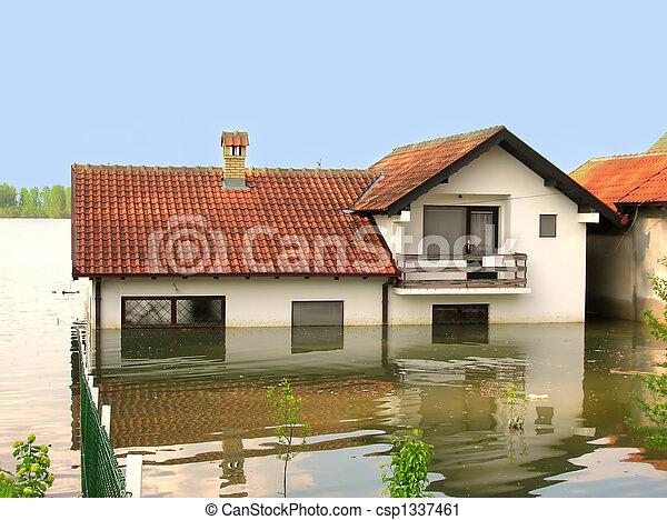 水, 洪水, -, 家 - csp1337461