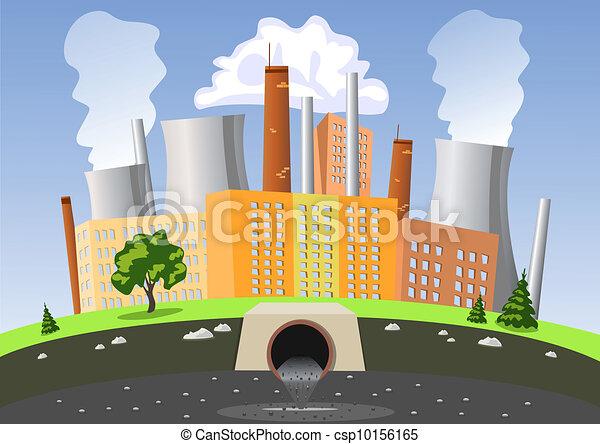 水, 空気, 工場, 汚染 - csp10156165